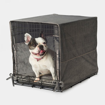 Plush Double Door Dog Crate Bedding Crate Bed Covers Bumpers